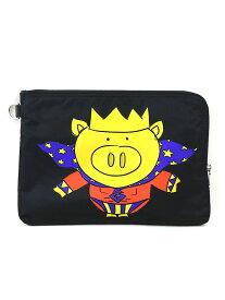 【中古】DOLCE&GABBANA ドルチェ&ガッバーナ 19SS Pig Crown black medium pouch プリントナイロンクラッチバッグ ブラック その他服飾