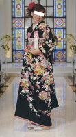 レンタル正絹黒引き振袖花嫁用雪輪枝垂れ桜文1092フローラル
