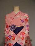 レンタル卒業式袴スタイル二尺袖着物袴セット012PI