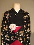 レンタル卒業式袴スタイル二尺袖着物袴セット014BK