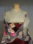 レンタル卒業式袴スタイル二尺袖着物袴セット017