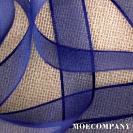 オーガンジーリボン【2m当りの販売】【幅約2.5cm】オーガンジーリボン エッジあり リボン 紺色 高級ナイロン紺色ラッピング 包装 飾り 装飾 アクセサリー 髪飾り材料 ハンドメイド クラフト 手芸 DIY 等 ribbon_color
