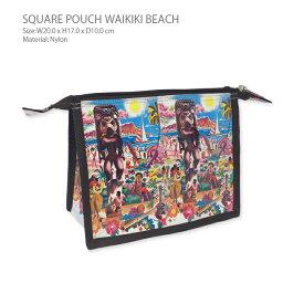 【メール便対応】スクエアポーチ ワイキキビーチ南国リゾート、ハワイの陽気な雰囲気がかわいい大容量のポーチ。化粧ポーチ、デジカメケースなど様々な用途で使えます。バッグインバッグアイテムとしても重宝します。ハンドメイドのためプレゼントにも。