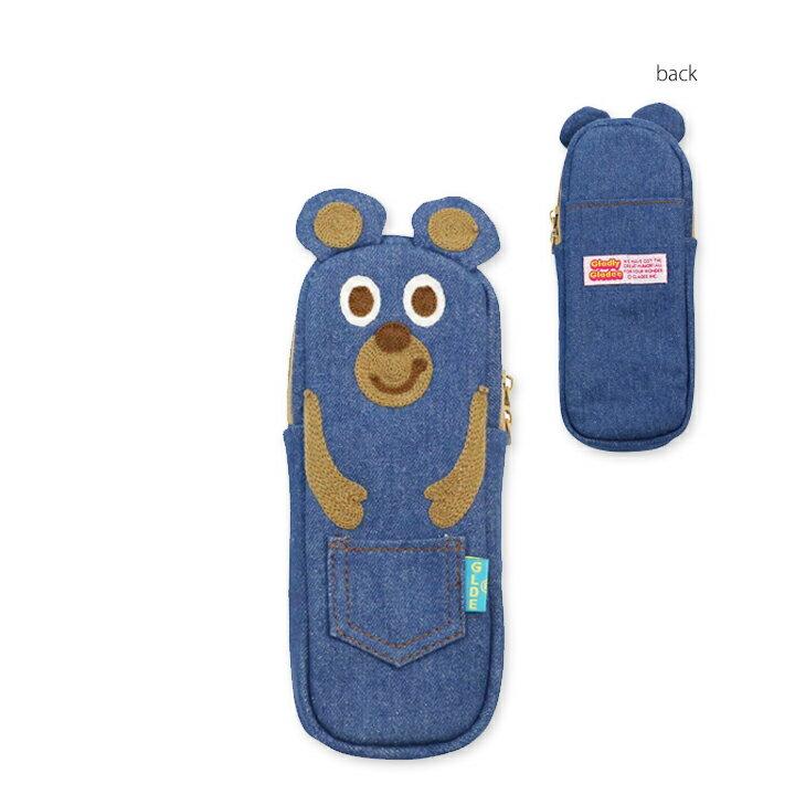 【メール便対応】デニムペンシルケース BLUE BEAR GLADEE(グラディー)・ ペンポーチ(ペンケース)や筆箱(ふでばこ)トラベルポーチ(旅行ポーチ)コスメポーチ(化粧ポーチ メイクポーチ)アクセサリーポーチにも使えるかわいいペンケース