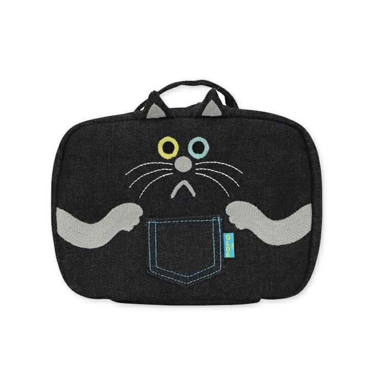 デニムマルチポーチ黒猫(Multi Pouch Denim BlackCat)GLADEE(グラディー)・おむつポーチ(オムツポーチ)やおむつバッグ、旅行ポーチ、大きい化粧ポーチ(コスメボックス)などに使えるマルチトラベルポーチ♪バッグインバッグにも!