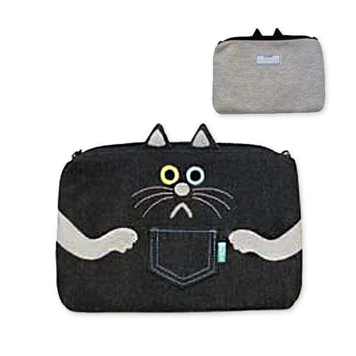 【メール便対応】スムース&デニムフラットポーチ 黒猫 GLADEE(グラディー)・ペンポーチ(筆箱)やコスメポーチ(化粧ポーチ)カードケース、デジカメポーチ(デジカメケース)に♪旅行やコスメ,アクセサリー,大きいサイズのスマホに使える可愛いポーチ。手帳入れ,通帳ケースに