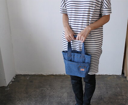 【メール便対応】ミニトートバッグP.C.villaデニム・おしゃれかわいいミニトートバック、手提げバック♪お弁当バック(ランチバッグ)やショッピングバッグ、マザーズバッグ、レディースキッズにも♪おでかけバッグとしても