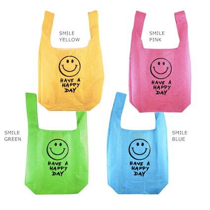 【メール便対応】エコバッグスマイル折りたたみ式でコンパクト軽量軽いエコバック♪おしゃれかわいいショッピングバッグ(マーケットバッグ)。たためる買い物バッグ・マザーズバッグのサブバッグとしてカバンに♪スマイルニコちゃんキャラクターマーク付
