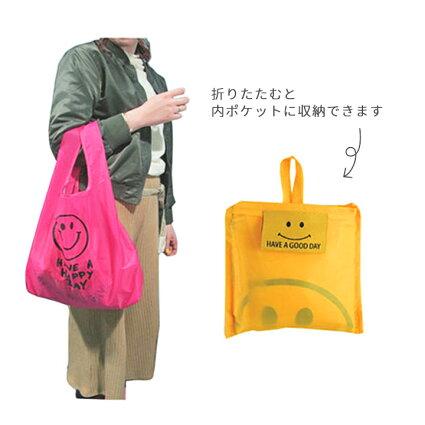 【メール便対応】エコバッグスマイル・おしゃれでかわいい軽量ショッピングバッグ(ショッピングバック)買い物バックにおすすめ♪マザーズバッグ、ママバッグに入れておきたい折りたたみバッグ(折りたたみバック)人気のにこちゃんマーク