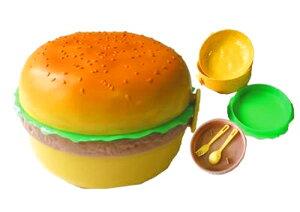 ハンバーガーランチボックスラウンドタイプ スプーン&フォーク付き・ハンバーガーのかわいいお弁当箱♪男の子の子供(子ども)のおべんとうばこに人気!お部屋のインテリアにも!運動