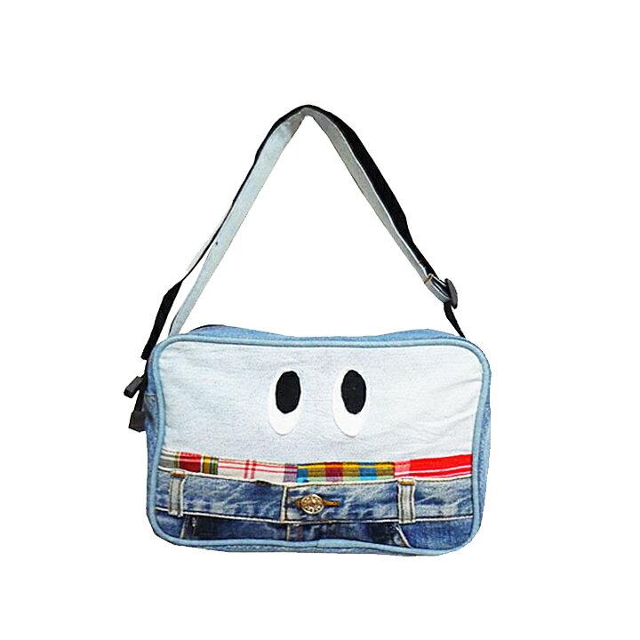 【送料無料】USED DENIM かおショルダーバッグ(通園バック)子供の通園バッグにかわいいキッズキンダーガーデンバッグ♪肩掛け斜めがけで普段の幼稚園バッグ(保育園バッグ)におすすめ♪男の子や女の子のレッスンバッグ(レッスンバック)にも