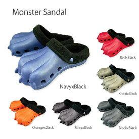 もこもこモンスターサンダル(かいじゅうサンダル) レディース&ジュニア怪獣の足型をした軽くて歩きやすい可愛い万能サボサンダル(スリッパ)♪男の子や女の子、キッズの子供も大喜び。冬の防寒対策にもなるボア付き。ルームシューズにも使える。お友達のギフトにも