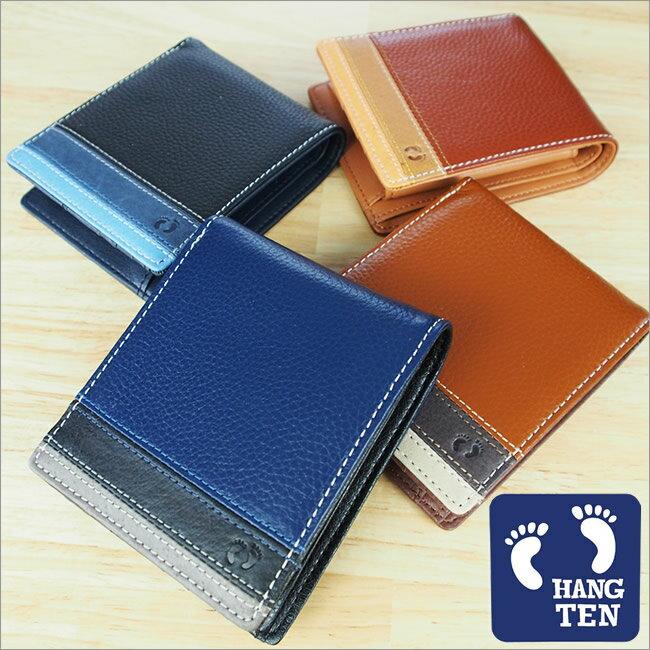 財布 二つ折り財布 メンズ HANG TEN(ハンテン) サーフブランド ボーダー 牛革