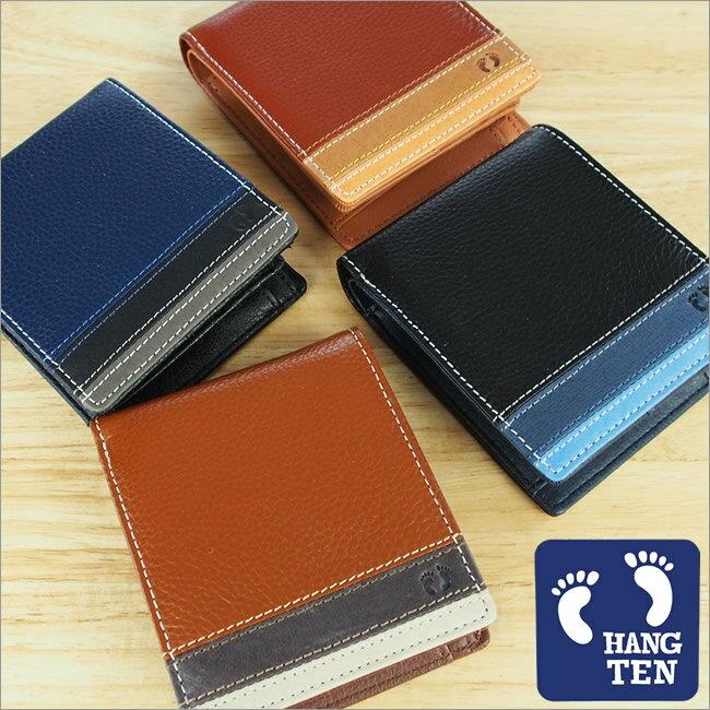 財布 二つ折り財布 小銭入れ パスカード HANG TEN(ハンテン) サーフブランド ボーダー 牛革 メンズ