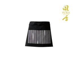 ショート丈エプロン(黒×絣柄) 日本製 飲食店 ユニフォーム 制服 和風