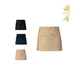 ショート丈エプロン(しじら織) 日本製 飲食店 ユニフォーム 制服 和風