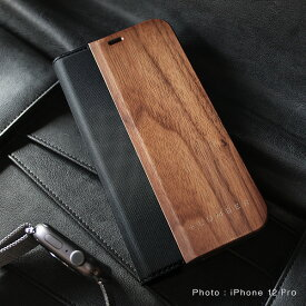 ■「+LUMBER iPhone 12/12Pro FLIPCASE」iPhone12 iPhone12Pro アイフォンケース カバー 手帳型 ブック型 ウッド 木製 天然木 かわいい おしゃれ デザイン ギフト プレゼント Hacoa 名入れ可 高品質 6.1インチ