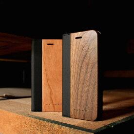 ■【+L SE2/8/7/6】木目が美しい手帳型iPhone用木製アイフォンケース「iPhone SE(第2世代)/8/7/6 FLIPCASE」【Qi対応】