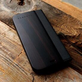 ■プレミアムモデル「+LUMBER iPhoneXR FLIPCASE(黒檀)」iPhoneXR アイフォンケース カバー 手帳型 ブック型 ウッド 木製 天然木 Qi対応 かっこいい おしゃれ デザイン ギフト プレゼント Hacoa 名入れ可 6.1インチ 高品質