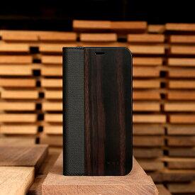 ■プレミアムモデル「+LUMBER iPhoneXS/X FLIPCASE(黒檀)」iPhoneXS/X アイフォンケース カバー 手帳型 ブック型 ウッド 木製 天然木 Qi対応 かっこいい おしゃれ デザイン ギフト プレゼント Hacoa 名入れ可 6.1インチ 高品質