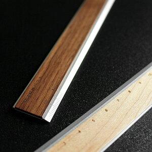 ■【+L】アルミ&木製ものさし・定規「RULER」モノサシ ウッド じょうぎ 文房具