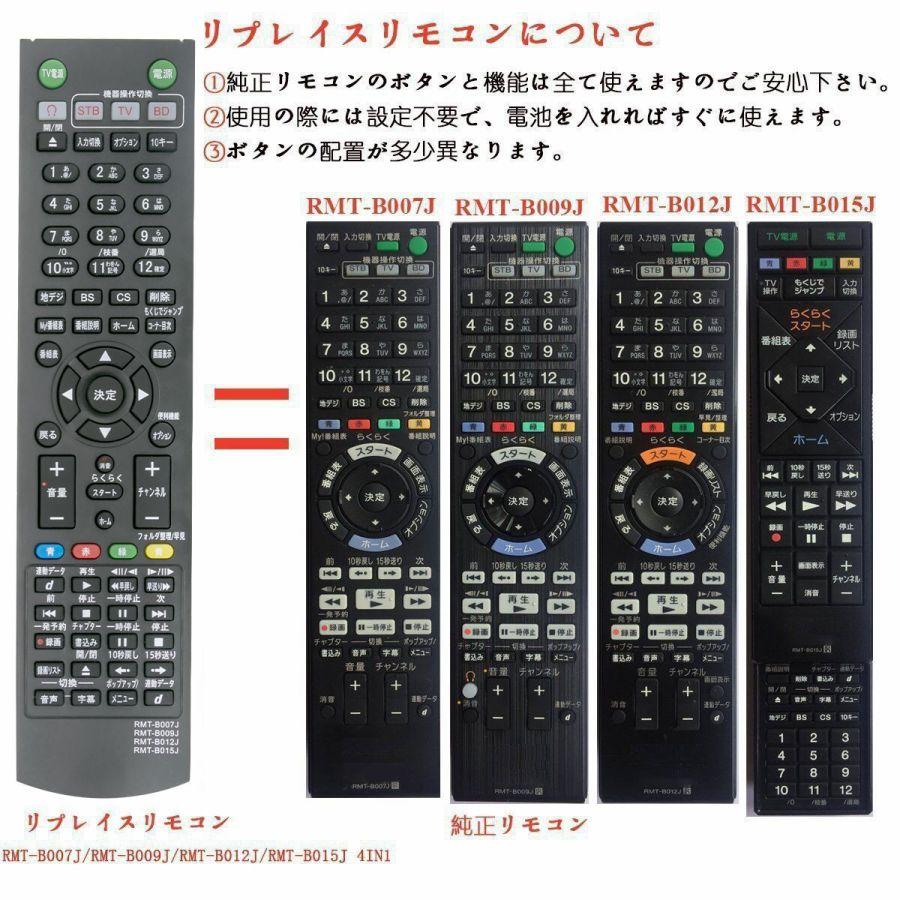 SONY ソニー リモコン RMT-B007J RMT-B009J RMT-B012J RMT-B015J ブルーレイディスクレコーダー用 PerFascin