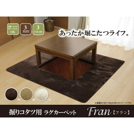 IKEHIKO イケヒコ 堀りこたつ用 ラグカーペット H・フランアイズ 2畳 185×185cm/くり抜き部90×90cm