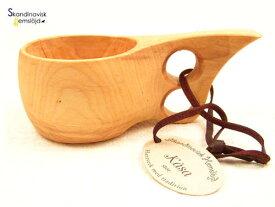ククサ 大(2つ穴)北欧 木製 革ひも付き カップ インテリア