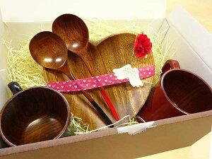 おうちカフェセット-7(木製和風カップ×2 木皿×2 スプーン×2)木製食器 和風 ギフト箱入 無料ラッピング ペア/プレゼント 母の日