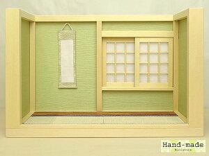 和風ドールハウス ミニ和室 2畳(I型-床の間)-3板の間 両サイド壁あり日本製 木製 無塗装 縮尺:1/16 横幅26.4cm