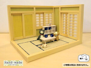Y&T ナガタ工房 和風ドールハウスミニ和室-6畳(L型A)1/16日本製 木製 無塗装 縮尺:1/16 横幅26.4cm