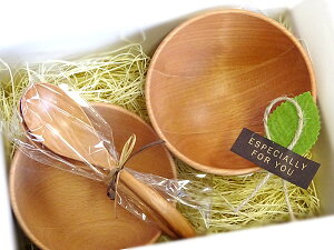森のスープ屋さんセット(カフェオレボウル×2 スプーン×2 )木製食器 ギフト箱入 ペア スプーン選択制/プレゼント 母の日