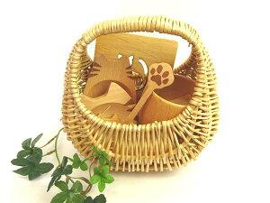 ねこのほっこりカフェセット(コップ×1 キャット豆皿×2種 バスケット×1)(北欧コースター×1 スプーン×1 箸置き×1)木製食器 ギフト バスケット入 無料ラッピング/誕生日 プレゼント 母の