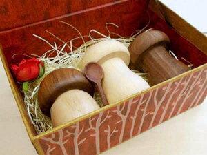 きのこ ソルト&ペッパー・スパイスセット(ソルト&ペッパー×2 スパイス入れ×1)日本製 木製品 ギフト箱入 無料ラッピング/結婚祝い 誕生日 塩コショウ入れ