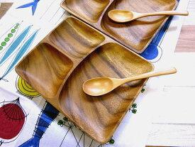 結婚祝い ギフトセット-5(ランチプレート-木皿×2 スプーン×2)(北欧キッチンタオル×1)木製食器 アカシア 無料ラッピング ペア/誕生日 プレゼント ギフト箱入