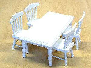 ミニチュア家具角テーブル+椅子4客セット ホワイト/中国製 木製 箱入り 5点入