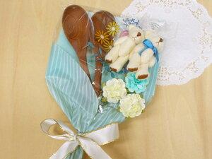 結婚祝いのプチブーケ-2(スープスプーン×2 くまのマスコット×2)木製品 造花 袋入 無料ラッピング/プレゼント 母の日
