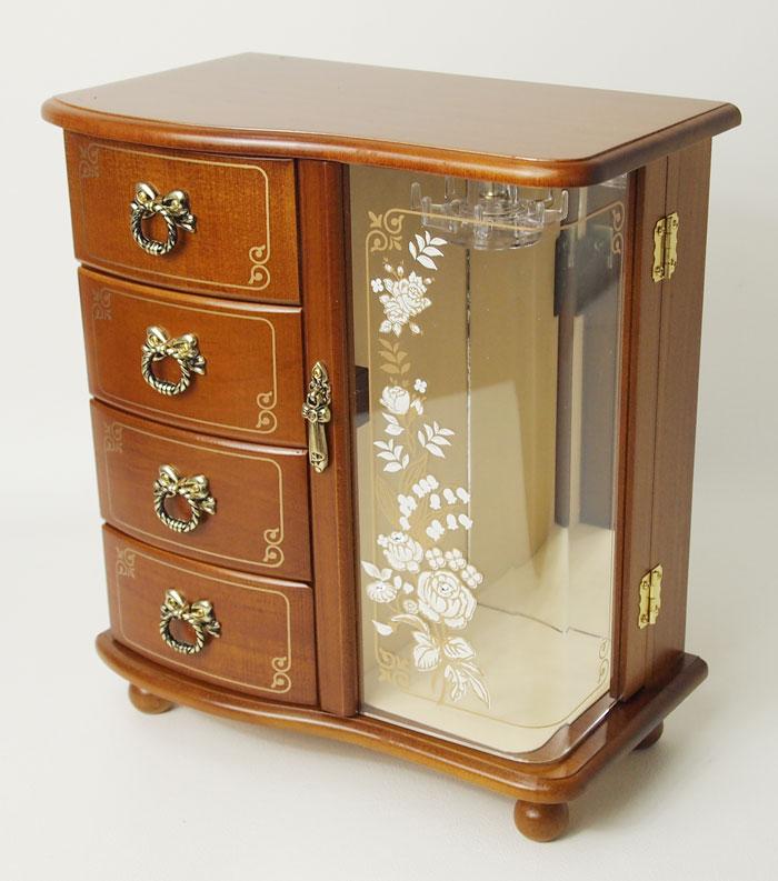 送料無料 木製ジュエルボックス ブラウン オルゴール付 ジュエリーボックス 星に願いを 日本製 G-1878B【あす楽対応】