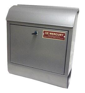 B品 マーキュリー メールボックス アメリカンポスト MERCURY US Mail Box 鍵・新聞入れ付 シルバー 壁掛けポスト MEMABO【あす楽対応】B-312