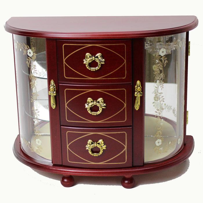 オルゴール付ジュエリーボックス 木製ジュエルボックス オーバーザレインボー G-1876R ワイン 送料無料 ♪星に願いを【あす楽対応】