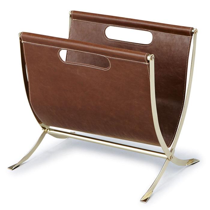 PLEASANT DAYS マガジンラック フェイクレザーとゴールドのメタル金具  (折りたたみ式) 863-307【あす楽対応】