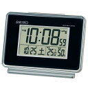 セイコー 2チャンネルアラーム温湿度電波デジタル目覚まし時計(黒) SQ767K 【あす楽対応】