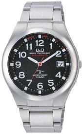 シチズン Q&Q 電波ソーラー腕時計 メンズ 10気圧防水 日付表示 薄い ステンレス ソーラーメイト ブラック HG12-205【あす楽対応】