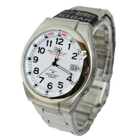 シチズン Q&Q 電波ソーラー腕時計 メンズ 10気圧防水 日付表示 薄い ステンレス ソーラーメイト ホワイトHG12-204【あす楽対応】
