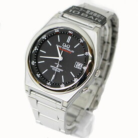 CITIZEN Q&Q 腕時計 電波 ソーラー ソーラーメイト アナログ 10気圧防水 ブラック HG16-202 メンズ【あす楽対応】