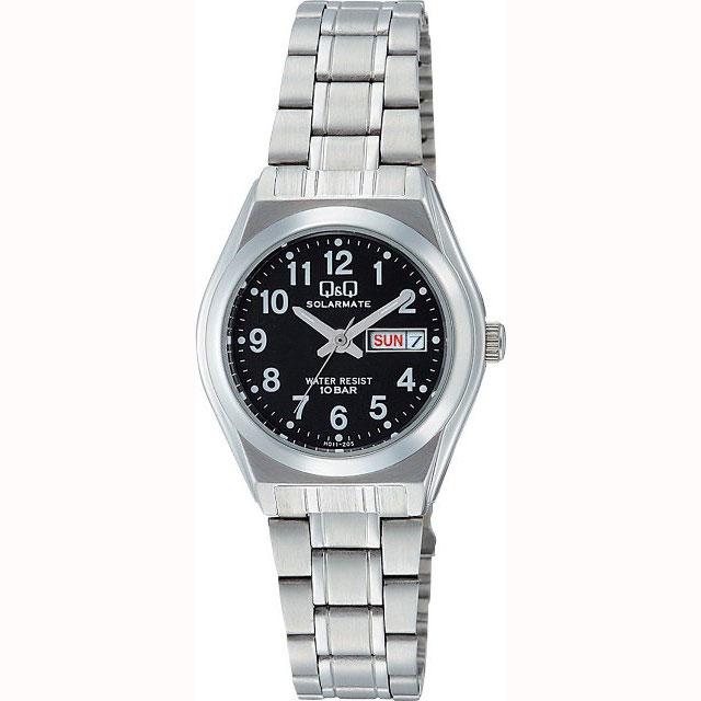 シチズン Q&Q 腕時計 ソーラー電源 アナログ表示 日付表示 10気圧防水 ブラック H011-205 レディース【あす楽対応】