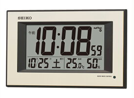 SEIKO セイコークロック 夜間自動点灯 プラスチック枠デジタル電波掛時計 (薄金色パール塗装) SQ438G【あす楽対応】