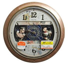 セイコー ディズニータイム からくり時計 ミッキー&ミニー 電波掛け時計 連続秒針 薄茶 マーブル柄 FW561A 【あす楽対応】【動画あり】 送料無料 Disney
