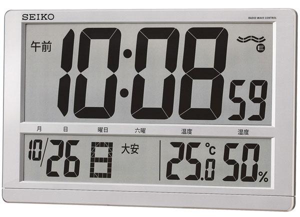 送料無料 セイコー 掛け時計 置き時計 兼用 デジタル 電波時計 温度表示 湿度表示 大型時計 SQ433S【あす楽対応】