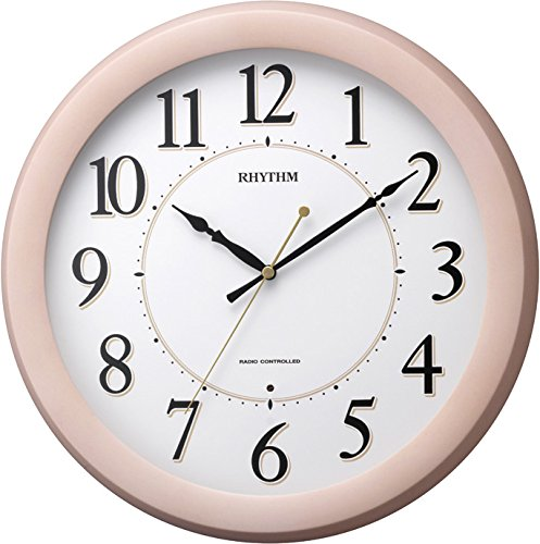 リズム時計 電波掛時計 フィットウェーブブリッツ 木枠 ピンク 半艶仕上げ 連続秒針 8MYA24SR13【あす楽対応】